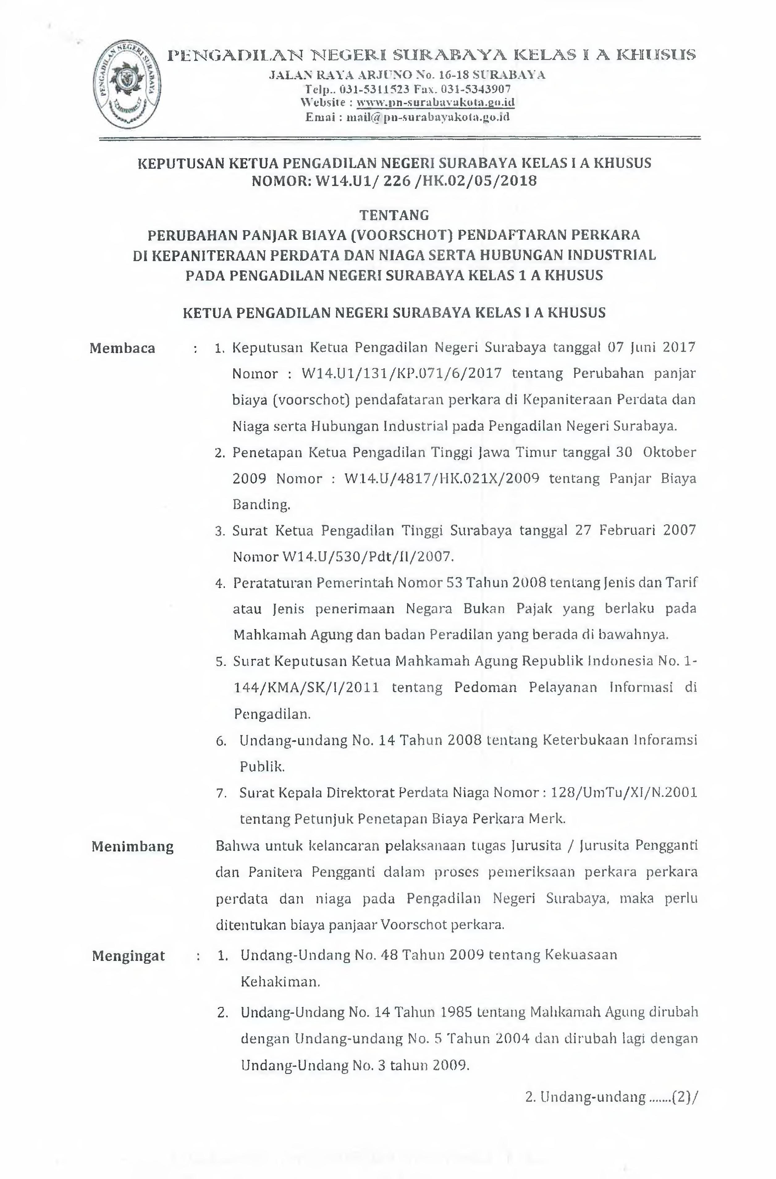 Panjar Biaya Pengadilan Negeri Surabaya